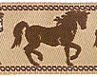 """HORSES on Tan Jacquard Ribbon - 7/8"""""""