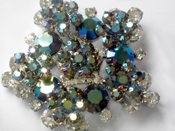 Verified Juliana Star Brooch D&E Delizza and Elster Blue And Green Aurora Borealis Crystal Rhinestone Pin High Fashion Jewelry
