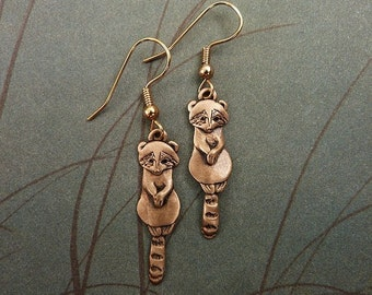Bronze Raccoon Earrings