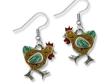 Enamel Chicken Earrings