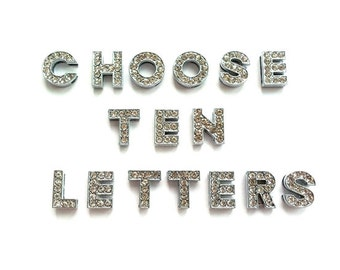 10 sliders charms metal letter beads crystal rhinestone alphabets 10mm