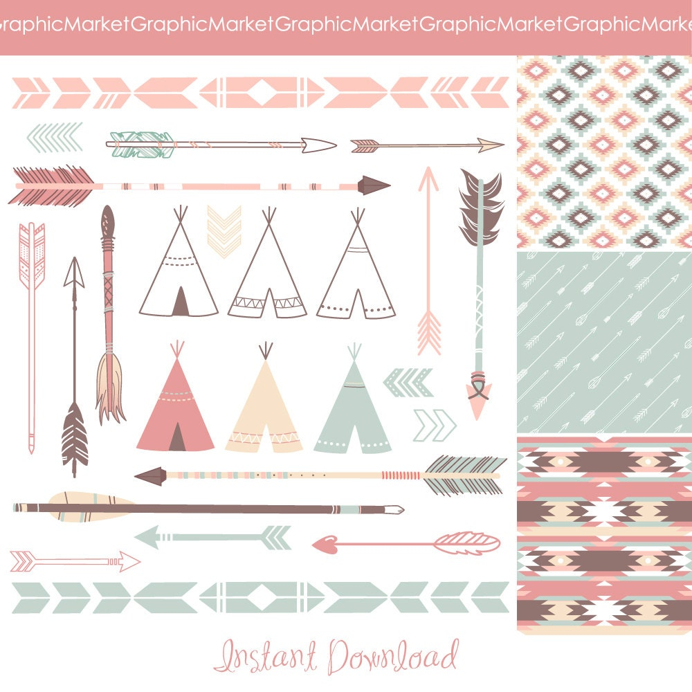 Indian Arrow Clip Art Papers - indian clip art