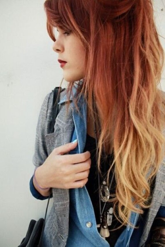 Items similar to Auburn Fire Ombre Hair Extensions, Dark ... Black Auburn Ombre Hair