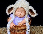 Crochet Lamb hat,.Made to order.