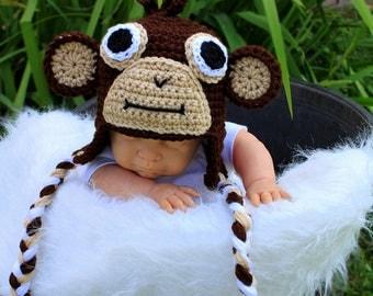 Crochet Monkey Hat. Mokey hat.