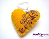 Embroidery keychain. Felt heart keyholder with  hand embroidery