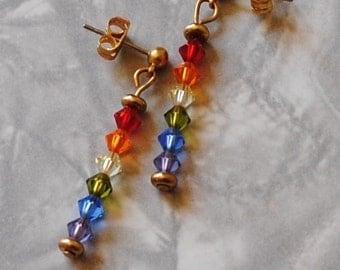 Rainbow crystals earrings*