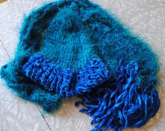 Fuzzy turquoise hat and scarf