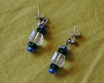 Blue green and crystal earrings*