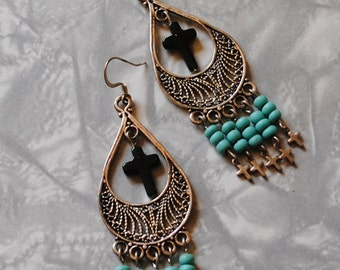 Turquoise and green filagree earrings
