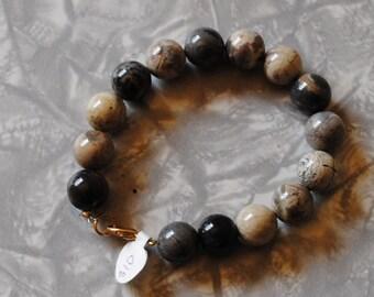 Round agate bracelet (#1)