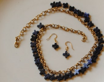 Blue goldstone crosses necklace and earrings