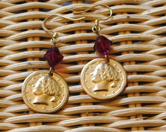 Ruby coin earrings