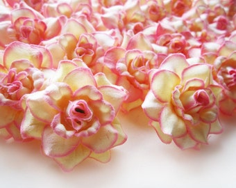 24 Cream Pink Edge mini Roses Heads - Artificial Silk Flower - 1.75 inches - Wholesale Lot - for Wedding Work, Make Hair clips, headbands