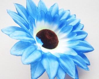 12 Blue Sun Flower Head - Artificial Silk Flower - 3.5 inches - Wholesale Lot - for Wedding, Make Hair clips, headbands