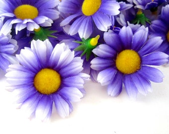 25 Purple with White Edge Gerbera Daisy Heads - Artificial Silk Flower - 1.75 inches - Wholesale Lot - for Wedding work, Make Hair clips