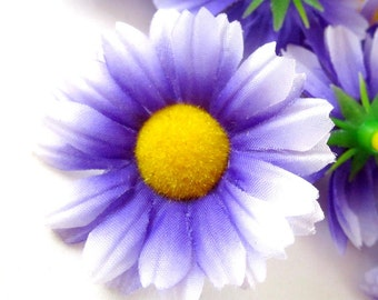 12 Purple with White Edge Gerbera Daisy Heads - Artificial Silk Flower - 1.75 inches - Wholesale Lot - for Wedding work, Make Hair clips