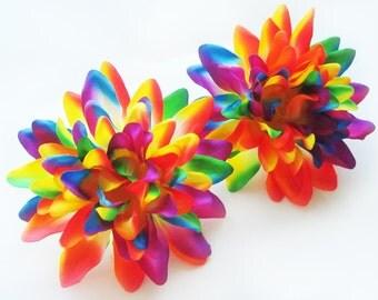 4 Rainbow silk Dahlia heads - Artificial Flower - 4 inches - Wholesale Lot - for Wedding Work, Make Hair clips, headbands, hats