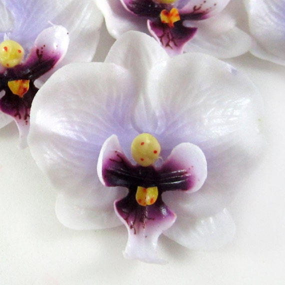 10 Mini White Purple Phalaenopsis Heads Artificial Flower - Silk Latex Coated - 2 inches - Wholesale Lot - for Wedding Work, Make Hair clips