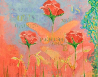 Original Absract Expressionist Modern Rose Painting with Stencil & Bible Text