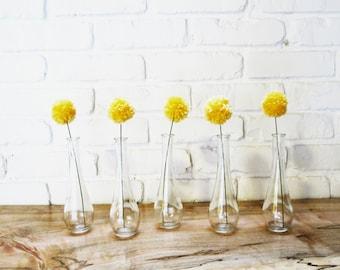 3 Craspedia Billy Balls / Yarn pompom flowers in Bright Yellow Handmade Party Decor