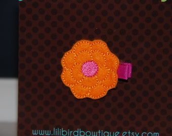 Felt Embroidered Posy Flower on a 1 3/4 in matching alligator clip