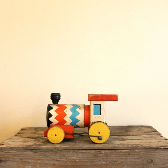 Vintage Fisher Price Train - 1950s Whistling Engine, Wooden