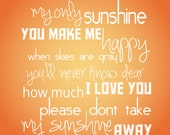You Are My Sunshine Quote Poem Song - 8x10 Childrens Wall Art for Nursery Typography Print