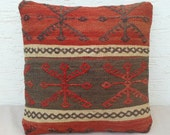 ETHNIC Handwoven Traditional Kurdish Wool Kilim Ebroidery Pillow Cover 16''x16'',Tribal Pillow,Decorative Throw Pillows.
