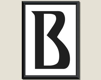 Typography DIGITAL PRINT Monogram Initial Wall Art Ariosto Letter B 5x7