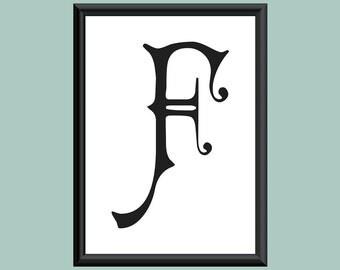 Typography DIGITAL PRINT Monogram Initial Wall Art Carmencita Letter F 5x7