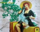 "Travel Girl II Pin-Up - wall art mixed media collage 8""X10"" within 11""X14"" matboard"