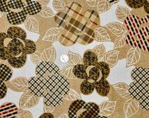 FLANNEL Taylor Tartan Plaid Beige Flowers - Fabric By The Yard