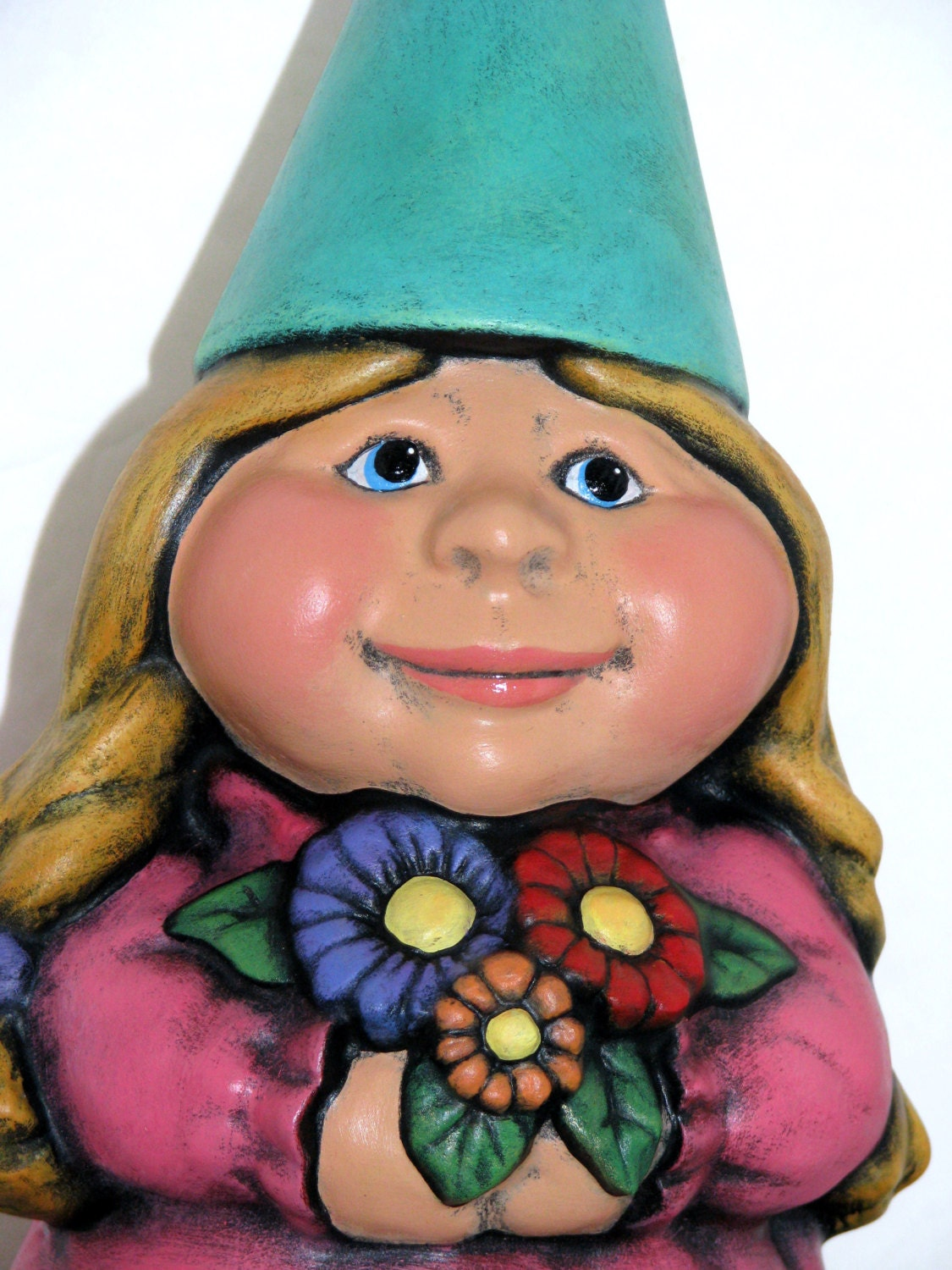 Female Garden Gnomes: Ceramic Female Garden Gnome 11 Inches Hand Painted Lawn Or