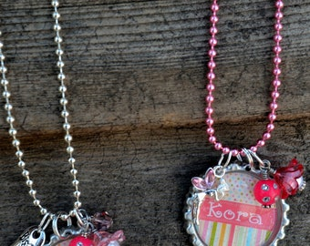 Little Girl's Personalized Bottle Cap Necklace