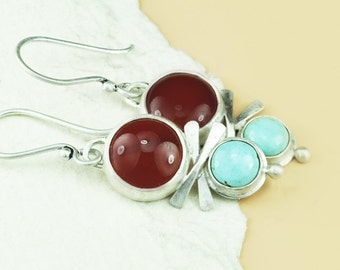 Silver Turquoise and Carnelian Earrings, Silver and Turquoise Earrings, Sterling Silver Earrings, Handmade Earrings, Sterling Silver Jewelry