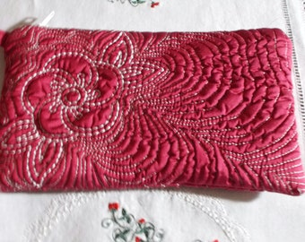 Quilted red silk clutch purse