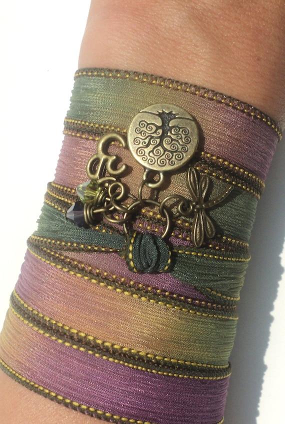 Nature Lovers Gift, Graduation Gift, Gift for Mom, Sisters Gift, Bestie Gift, Silk Wrap Bracelet, Yoga Gift, Yoga Teachers Gift, Boho Gift