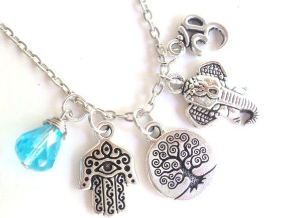 Tree of Life Hamsa Sacred Elephant Charm Necklace Om Namaste Yoga Jewelry Protection Unique Gift For Her Stocking Stuffer Under 50 Item T35