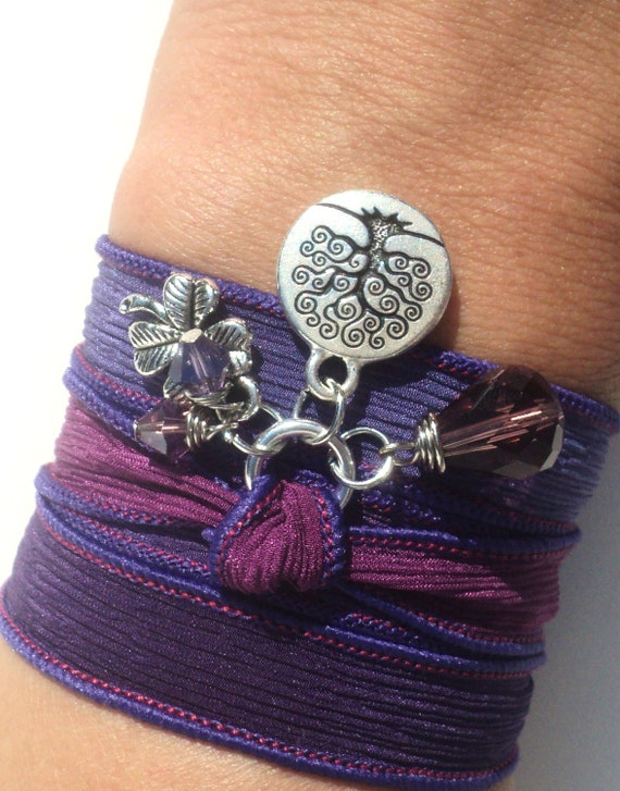 Tree of Life Silk Wrap Bracelet Yoga Jewelry Purple Kabbalah Gift For Her Christmas Birthday Necklace Earthy Unique Gift Under 50 Item Z50