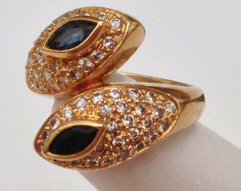 18k DIAMOND SAPPHIRE RING - Solid Yellow Gold - Natural Pave and Faceted Gemstones - Bypass Style