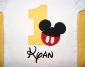 Personalized Mickey Mouse Birthday Shirt, 1st, 2nd- Applique, Customized, Embroidered, Name, Disney, Yellow/Gold