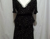 Vintage 40s lace neck pin up blk/wh POLKA DOT puff sleeve peplum DRESS L free ship