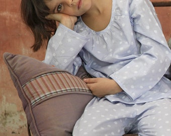 Girl blue cotton Pajamas pyjama