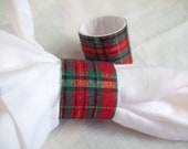 Set of 6 Handmade Napkin Rings Red, Green and Gold stripes Christmas Birthday Wedding Handmade