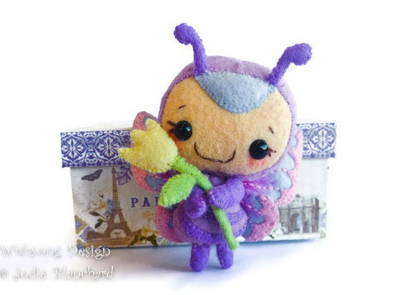 "OOAK Felt toy butterfly plush artists toy, art doll "" Lavender """