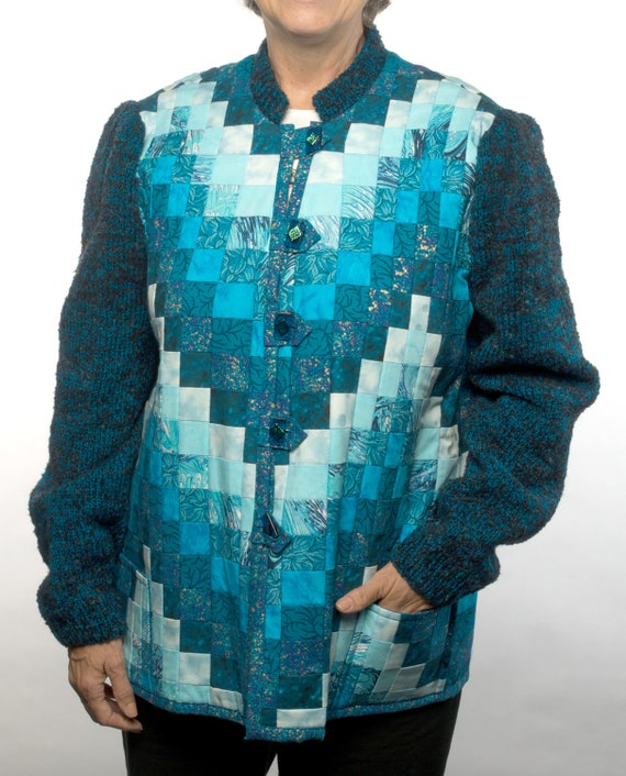 Items similar to Quilted Bargello Jacket with Knit Sleeves and Collar on Etsy