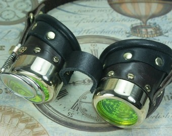 Steampunk, Goggles, brass, dark brown, leather, target etched eye pieces, two magnifying lenses
