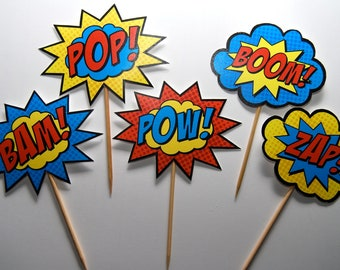 Superhero Cupcake Toppers • Boom, Bam, Zap, Pow, and Pop • Printed & Assembled