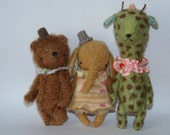 Super Deal 3 PDF Epatterns for 5 inch Pocket Size Miniature Bear, Elephant and Giraffe plus the pattern for the clothes by Sasha Pokrass